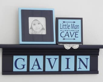 Aqua and Navy Nursery Room / Wall Decor | Personalized for Baby | Navy Shelf with Aqua Tiles | Navy Name Wall Letters