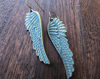 Angel Wing Earrings, Angel Earrings, Angel Jewelry, Brass Angel Wings, Renaissance, Goth, Gothic, Brass Jewelry, Wings, Wing Earrings