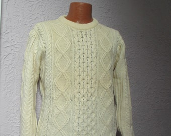 70's Vintage Men's Irish Fisherman's Wool Cable Sweater medium