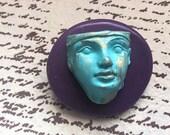 Art deco  Egyptian face flexible silicone mold/ fondant/ cake decoration