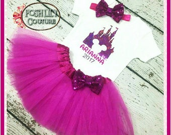 Birthday Girl Mickey Mouse Castle Outfit, Hot pink baby girl birthday tutu set, first trip, Hot pink smash cake outfit