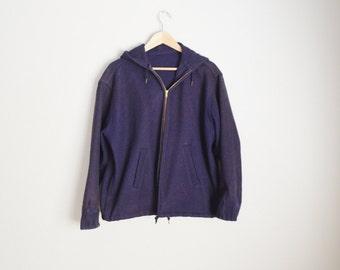 Vintage 50s Heavy Duty Navy Wool Military Hooded Fisherman Jacket // xlarge