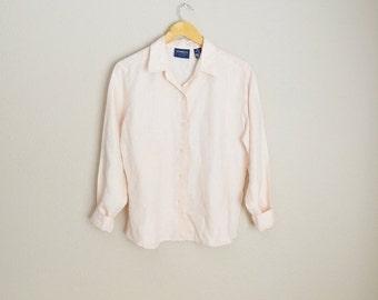 MLK - 20% off SALE - vintage pastel pale pink line shirt blouse // womens medium