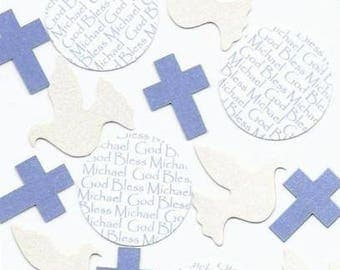 Cross Confetti for Baptism, Communion, Confirmation, Dedication - Personalized Dove Cross Confetti - Choice of Colors