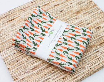 Large Cloth Napkins - Set of 4 - (N4742) - Orange Carrots Modern Reusable Fabric Napkins
