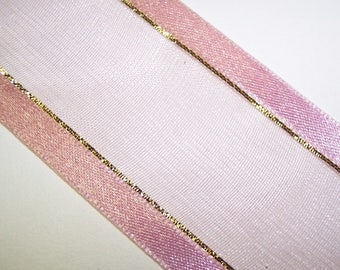 Mauve with Gold Stripe Ribbon 3 Yards
