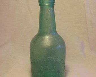 c1860s Robinson Wilson & Legallee 102 Sudbury St. Boston, Mass., Dark Aqua Teal Squatty Cork Top Mineral Water Soda Bottle