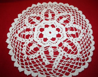 Vintage Hand Crocheted Doily- 12.5 inch