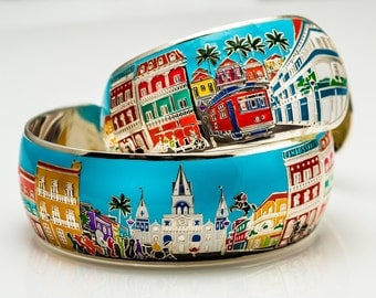 New Orleans French Quarter and Landmarks Sterling Silver Cuff Bracelet