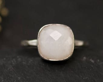 40 OFF - White Agate Solitaire Cushion Ring - Gemstone Ring - Stacking Ring - Sterling Silver Ring - Square Gem Ring