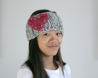 Heart Knitted Headband Ear Warmer in Marble Grey and Raspberry / L'AMOUR