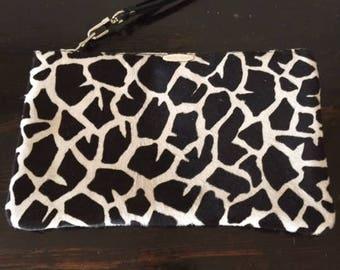 "Black/White Print (soft hair) Leather Pouch 5x9"""