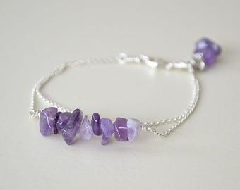 Amethyst Bracelet, Sterling Silver Gemstone Bracelet, Purple Amethyst Jewelry, Chain Bracelet