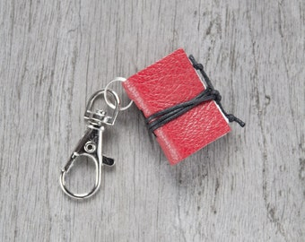 Book keychain, leather keychain, miniature book charm, book lover, literature jewelry, key accessory, women men keychain, leather journal
