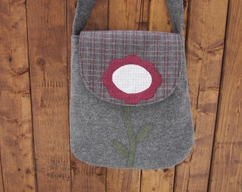 Wool flower crossbody bag, wool purse