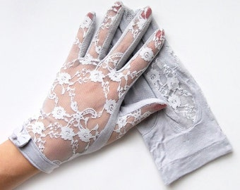 Penelope Gray Floral Lace and Bow Gloves