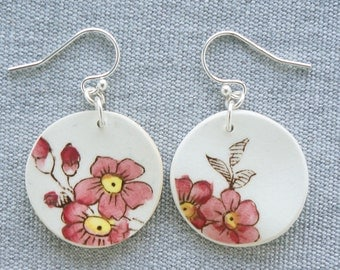 Sketched Primrose Earrings Spode Broken Recycled China Jewelry Material and Movement