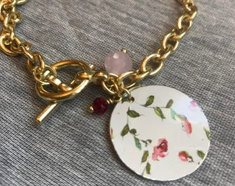 Gold Charm Link Bracelet with Recycled Tin Charms