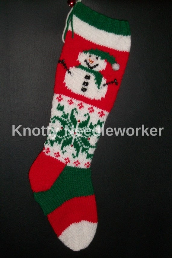 Hand Knit Christmas Stocking Patterns : PRINTED PATTERN ONLY 2 in 1 Let It Snow Hand Knitted