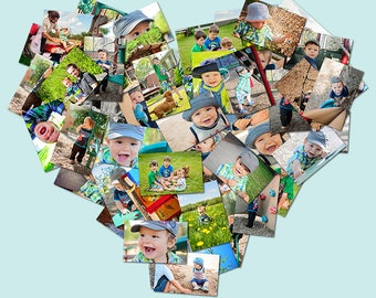Personalized High-Res Heart Collage | Poster | Your Images in a Heart Shape | Digital Download | Gift | Baby Photo Collage