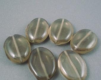 Destash Brown Smoky Quartz 15MMx20MM Flat Ovals 6 Pieces