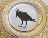 Gold Raven / Crow Plates, Crow Raven Dishes, Crow Raven Dinnerware, Crow Raven Bowls, Raven Dishes Tea Cups, Payment Plans Available
