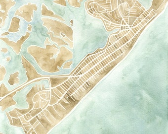 Brigantine New Jersey watercolor map print
