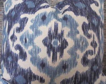 Designer Pillow Cover - IKWL Ikat Indigo