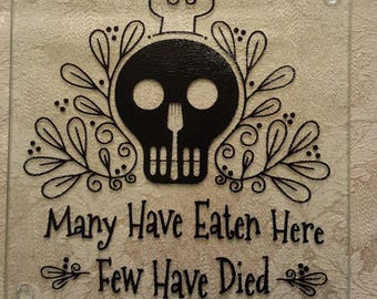 Skull Kitchen, Personalized Glass Cutting Board, Glass Cutting Board, Sugar Skull, Custom Cutting Board, Housewarming Gift, Wedding Gift,