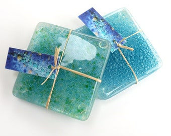 Fused glass coasters, handmade art glass coasters, set of 2, bubble coasters, drinks mats, recycled glass coasters, eco gift, recycled home