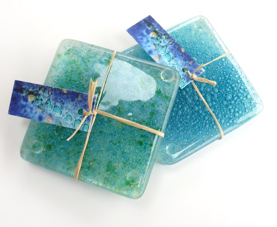 Fused glass coasters handmade art glass coasters set of 2 for Handmade drink coasters