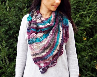 "CROCHET PATTERN woman lace block shawl, women asymmetrical shawl, wrap, scarf, ""Playful shawl"",  Instant download"