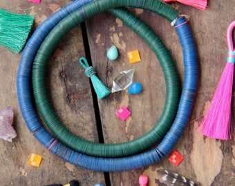 Blue on Green : Vintage African Vinyl Record Disc Beads, 12mm, Tribal Fashion, Heishi Beads for Making Jewelry, Boho, Festival