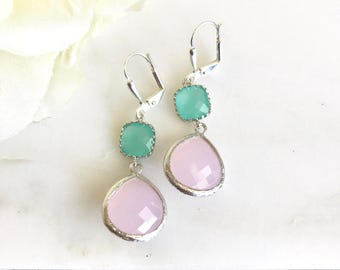 Soft Pink Bridesmaid and Aqua Jewel Earrings in Silver.  Wedding Jewelry.  Bridesmaid Jewelry. Gift.  Drop Earrings. Dangle Earrings.