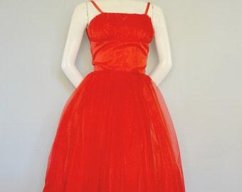 Vintage Red 1950s  Dress