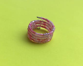 SALE, Pink beaded ring, pink memory wire ring, statement ring, pink ring, statement ring, colourful ring, wire ring, bead ring, stacked ring