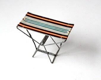 SALE striped camp stool, vintage metal frame camping stool