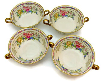 Rosenthal Ivory Bavaria Flat Cream Soup Bowls with Handles - Set of 4 - Evelyn Pattern No. 2778 - Vintage Fine China Made in Germany 1930s