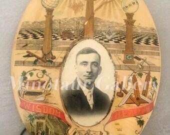 Amazing Antique Photo Portrait of a Freemason / Masonic / 1900s