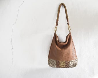 Caramel Leather Hobo Purse with Woven Gold Leather Stripe  - Made to Order.  Strap Options
