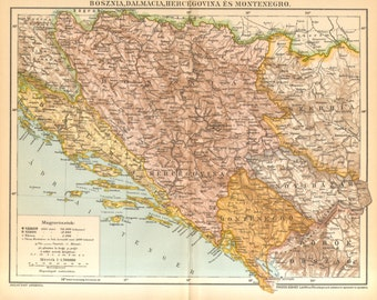1893 Bosnia, Dalmatia, Herzegovina and Montenegro Original Antique Map