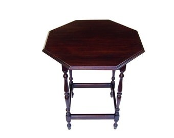 Antique Parlor Table Vintage Wood Tables Octogon Side Table Walnut Spindle Legs