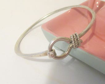 Sterling Silver Taxco Hook Bangle Bracelet Mexico 925
