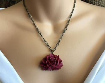 SALE Flower Necklace, cabochon necklace, maroon burgundy necklace, Mother's Day, rose necklace