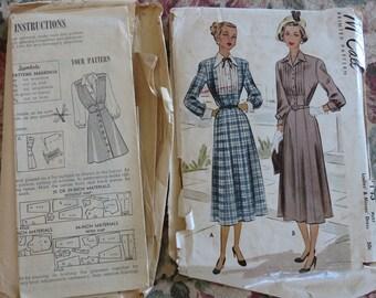 Lot of 2 Vintage Sewing Patterns, Women's 1940s Jumper Mail Order, 1950s Advance 7143 Dress, sz 16