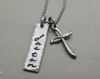 Mens Cross Necklace Silver - Mens Cross Necklace - Mens Cross Jewelry - Personalized Mens Necklace - Fathers Day