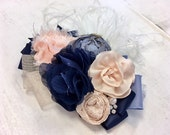 Navy, Blush & Periwinkle floral rosette headband/ hairclip
