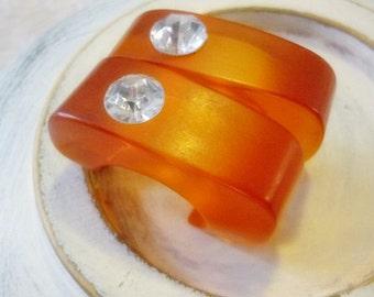 Chunky Lucite Orange Earrings with large Rhinestone,Modern Art style Earrings