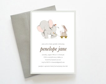 Elephant Baby Sprinkle Invitations, Printable Baby Sprinkle Invitations, Baby Sprinkle Invites, Unique Baby Sprinkle Invitations, Elephant