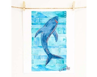 Boys Room Prints - Shark Decor 'Great White Shark'